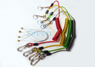 China Stainless Wire Reinforced Plastic Coil Lanyard Custom Colored PU Cover supplier