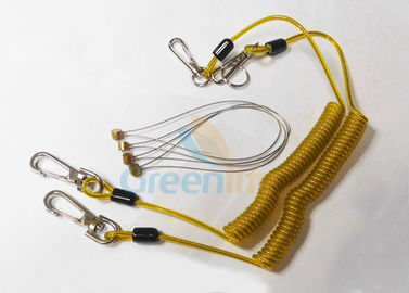 China Safety 5.9'' Steel Inside Plastic Coil Lanyard Transparent Yellow PU Coating supplier