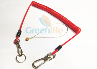 China Fall Protection Red 4.0 Bungee Cord Lanyard , Standard Style Coiled Lanyard Cord supplier
