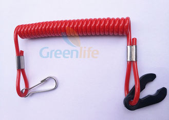China Quick Cut - Out Kill Switch Lanyard Solid Red Spiralled Strap Stretch 1 Metre supplier