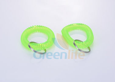 China Fluorescence Green Wrist Coil Key Holder , Flat Weld Coil Wristband Keychain supplier