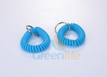 China Protective Spiral Stretchy Wrist Keychains Durable Flat Weld For Badge Holder supplier