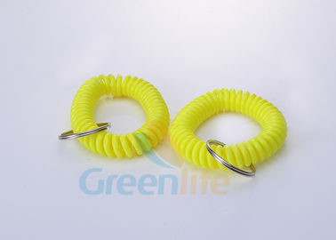 China Bright Yellow Flexbile Plastic Spiral Cord Bracelet Keychain ID Chian 12 CM supplier