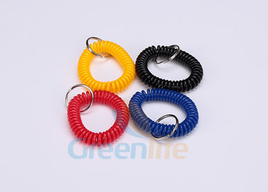 China Yellow Light Weight Plastic Wrist Coil Band Abrasion Resistant With Spilt Key Ring supplier