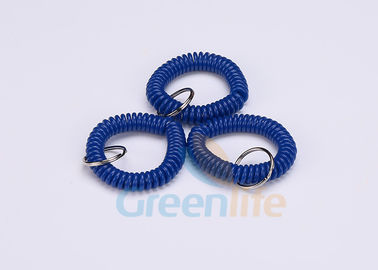 China Fall Protection Dark Blue Plastic Wrist Coil Key Ring Holder Securing Tools supplier