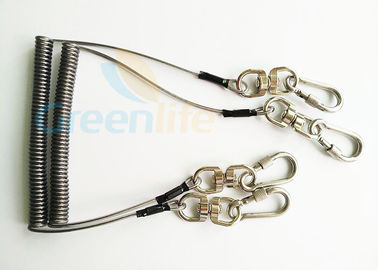 China Steel Spring Coil Tool Lanyard With 8 Shape Swivel / Stainless Carabiner supplier