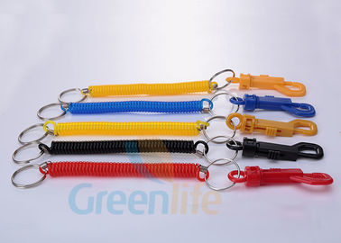 China Economical Expandable Coiled Key Lanyard With PP Belt Clip / Split Ring supplier