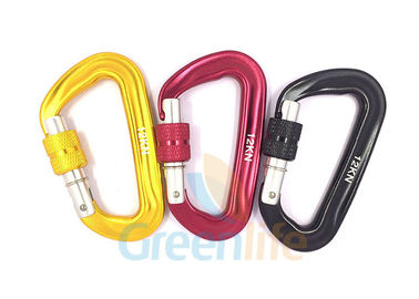 China Auto Lock Marine Snap Hook , D Shape Big Size Rock Climbing Carabiner Colorful supplier