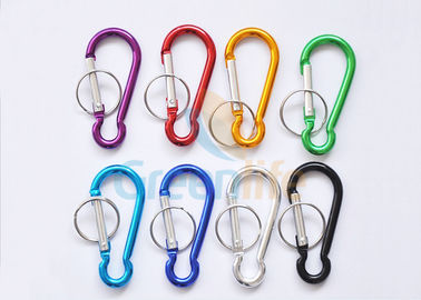 Colored Aluminum Promotional Snap Hook Carabiner Gourd Shape With Split Ring