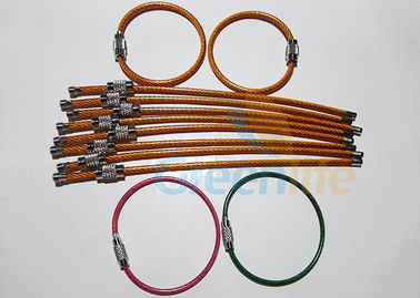 China Stainless Steel Wire Lanyard Accessories Colored PU Coated Wrist Band With Lock Loop supplier