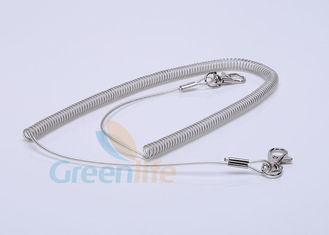 China Retractable Steel Coil Lanyard With Clip , 5M Working Length Plastic Coil Tether supplier