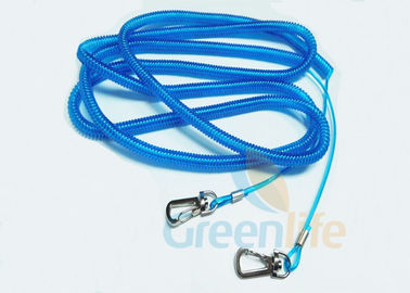 China Stainless Steel Wire Fishing Rod Lanyard Safety Blue PU Coated Rod Rope 15M supplier