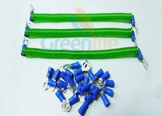 China Safety Fashionable Coiled Security Tethers Transparent Green Spring With Two Eyelets supplier