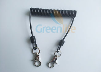 China Universal Black TPU Coil Tool Lanyard With Thumb Hooks For Hardware Tools Security supplier