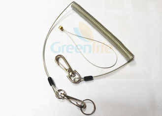 China Steel Reinforced Plastic Coil Lanyard Leash With Zinc Alloy Snap Hooks / Split Ring / Wire Loop supplier