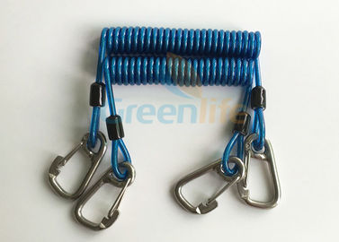 China Retractable Tool Tether Lanyards Blue Spring Elastic Plastic Coiled Tethers supplier