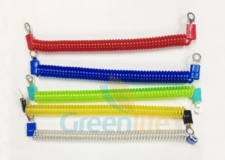 China Coloured Steel Wire Retractable Coil Cord With Eyelet Terminals / Protectors supplier