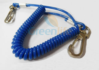 China Bungee Coiled Lanyard Cord Tether Blue Covered Stop Falling With Snap To Snap Design supplier