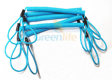 China Blue Coil Tool Lanyard Elasticated Spring Tool Tether With Double Loop Ends supplier