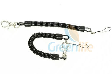 China Standard Coiled Key Lanyard Slim Spring Black Color For Multi - Purpose Daily Use supplier