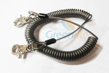 China Heavy Duty Coil Tool Lanyard , High Security Coiled Security Tethers Load 15KG supplier
