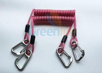 China High Strength Strong Coil Tool Lanyard Transparent Red PU Material Cover supplier