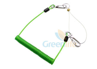 China High Security Green Coil Tool Lanyard PU Coated Cable Tool Customized Length supplier