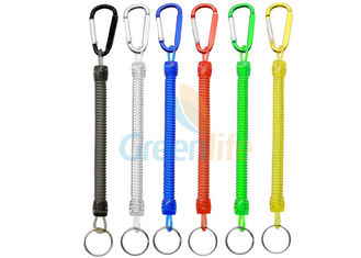 China Colorful Spring Coil Lanyard Economical Fly Fishing Accessory With Colored Carabiner supplier