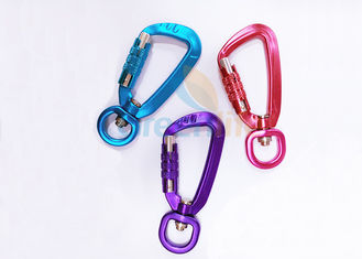 China Colorful Aviation Aluminum Carabiner Clips Breaking Force 4KN Eco Friendly With Lock supplier