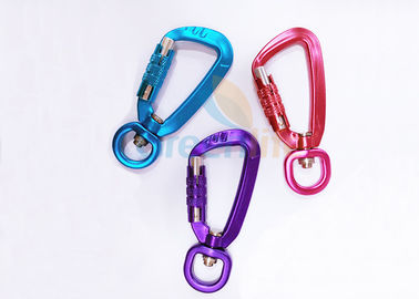 Colorful Aviation Aluminum Carabiner Clips Breaking Force 4KN Eco Friendly With Lock