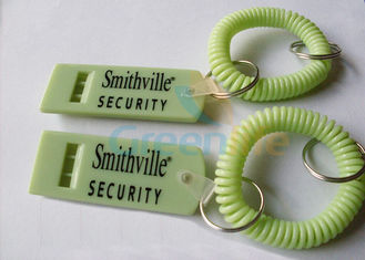 China Custom Colored Wrist Coil Key Chain Lightweight TPU Tubing With Flat Whistle 71*28*8MM supplier