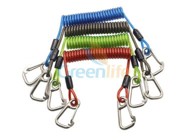 China Heavy Weight Plastic Coil Lanyard , Coiled Tool Lanyard With Double 316 Stainless Steel Clips supplier
