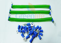 China Safety Fashionable Coiled Security Tethers Transparent Green Spring With Two Eyelets factory