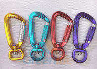 China High Security Aluminum Snap Hook Carabiner With Eyelet Multi Colours Loaded 400KG factory