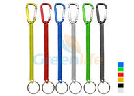 Plastic Spiral Cord Wire Fishing Tool Holder With Colored Carabiner / Split Ring