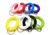 Durable Plastic Spiral Key Holder , Stretchy Wrist Keychains Good Elastic Memory