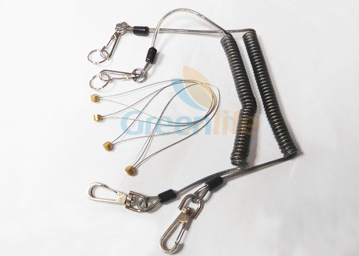 Anti - Drop Plastic Coil Lanyard With Zinc Alloy Snap Hooks / Split Ring