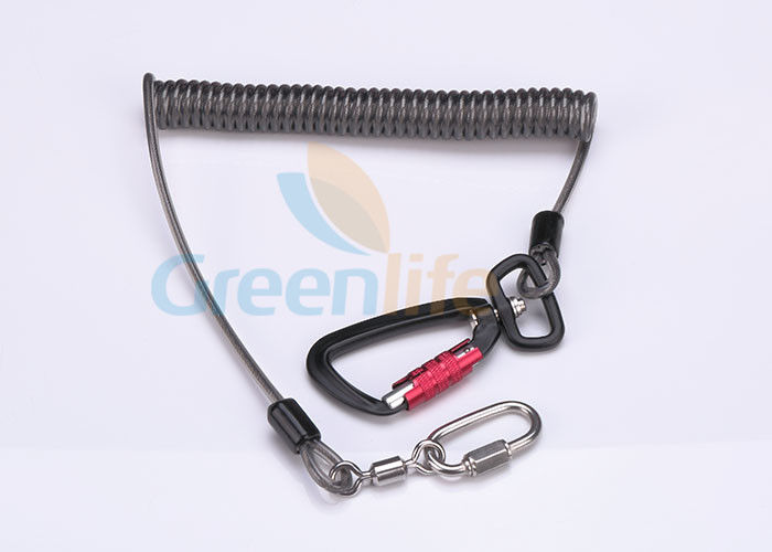 Black Retractable Safety Lanyard 5.0MM Auto Lock , Stainless Tool Safety Lanyards
