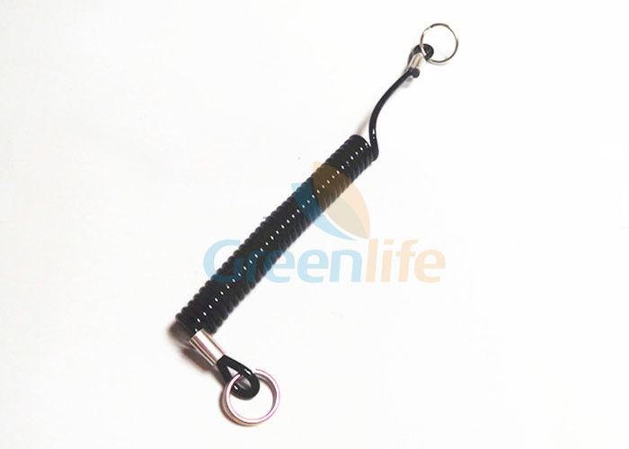 Black Wire Coil Lanyard With Double Split Ring On Two Sides Custom 12CM Length