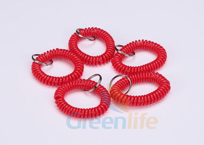 Custom Multi Purpose Spiral Keychain Bracelet Red Plastic Wrist Key Holder