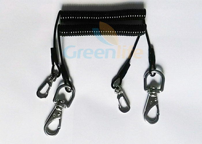 Custom Black Retractable Coil Tool Lanyard With Stainless Steel Swivel Hooks