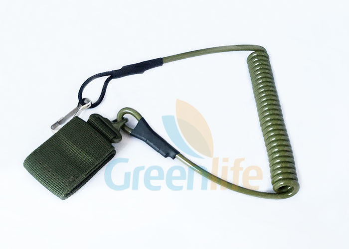 Army Green Strong Tactical Coil Tool Lanyard PU Retention For Protection