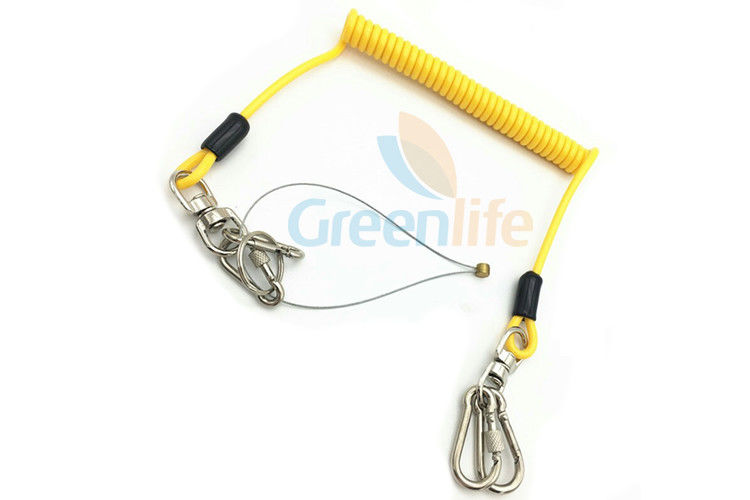 Yellow Plastic Coiled Lanyard Cord Securing Wire Falling From Height