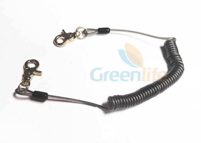 Translucent Black Spring Coil Lanyard , Clip 2PCS Heavy Duty Steel ...