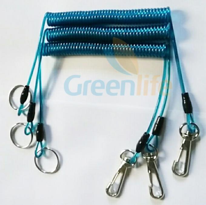 Transparent coiled security tethers , Snap Hook Split Ring quick release lanyard