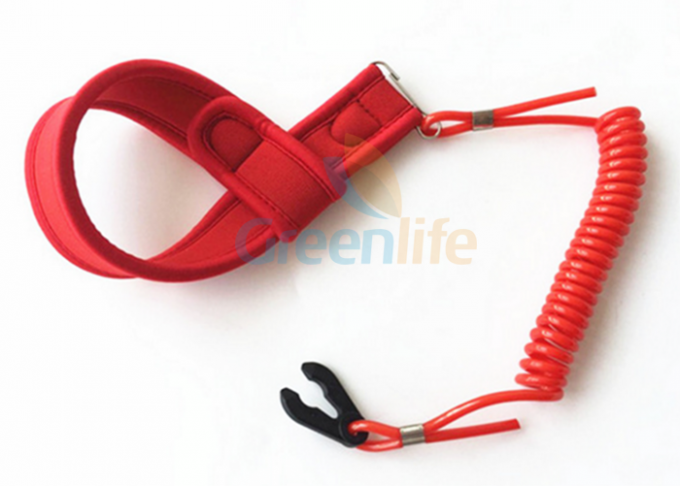 Outboard Motor Coiled  - Style Kill Cord Lanyard With Soft Wrist Band