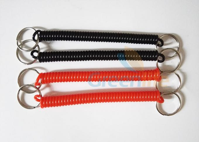 Promotional 2.5mm Coiled Key Lanyard Red / Black Retractable With Nylon String