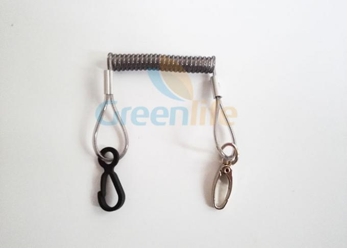 Security Vinyl Coated Plastic Coil Lanyard With Custom Metal / Plastic Clips