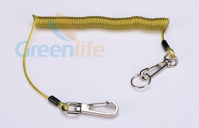 Yellow Vinyl Coating Scaffold Tool Lanyards , Hooks Loop Retractable Tool Lanyard