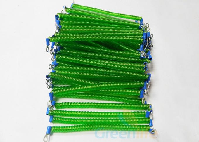 Stretchy Coiled Lanyard Cord , Fashionable Green Retractable Security Cable